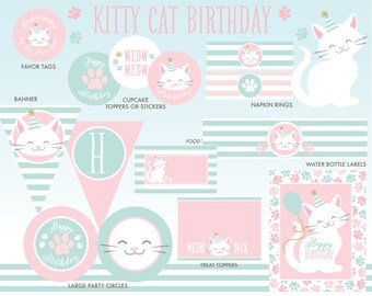 Kitty Cat Party Package, INSTANT DOWNLOAD, Kitten Birthday