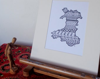 "Artwork Print - Zentangle Map of Wales (mounted) 12"" x 10"""