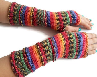 Fingerless Gloves, Hand Knit Arm Warmers
