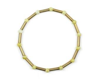 Elastic bracelet-Brass bracelet with jade-LEJLA
