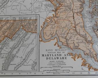 Maryland Delaware Map, 1937 Vintage US State Map