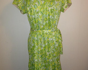 Green Paisley 1960s Dress
