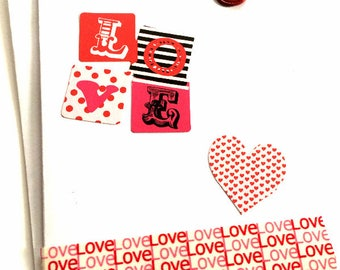 "Valentine Note Card//""Love""//Valentine Card//Handmade Note Card//Note Cards"