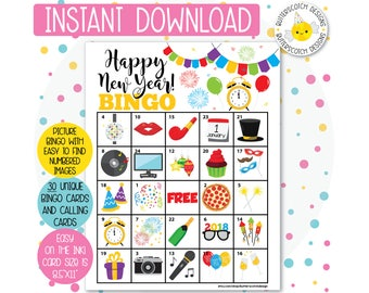New Year's 2018 Printable Bingo Cards (30 Different Cards) - Instant Download