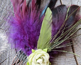 Feather Hair Comb ~ Feather Hair Accessories ~ Feather Hair Piece ~ Hair Accessories for Women ~ Flower Hair Comb ~ Boho Hair ~ Gift for Her