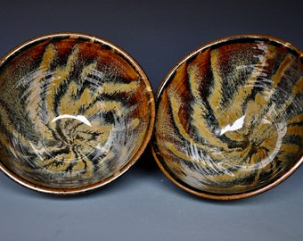 Pair of Dark Umber Ceramic Pottery Bowls  A