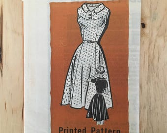 Vintage 1960's mail order pattern 9297 summer dress with full skirt and yoke top Size 14 Bust 34""