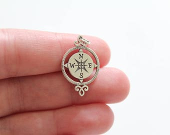 Sterling Silver Compass Pendant, Compass Charm, Compass Pendant, Silver Compass Charm, Unique Compass Pendant, Long Compass Charm