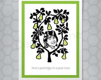 Partridge in a pear tree Partridge Family Funny Christmas Card