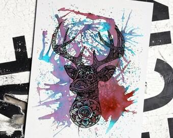 Deer Prints, Black & white, Animal Art, Original Illustration, Hand drawn, Deer art, Wild Animals, Home Decor, Deer Artwork, Deer Art Prints
