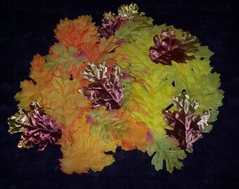 Fall Oak leaves,apx 60/pkg,Mixed Golden yellow,oranges,bronze,red,green,silk,appx 3 inch