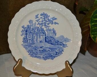 "Taylor Smith & Taylor / Blue Castle / dinner plate / 1940s / 9"" diameter / blue / castle / plate / collectible plate / round / dinner"