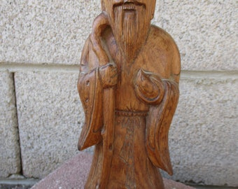Vintage Chinese Wood Carving Statue Hand Carved Immortal Figure Asian Bearded Man Sculpture