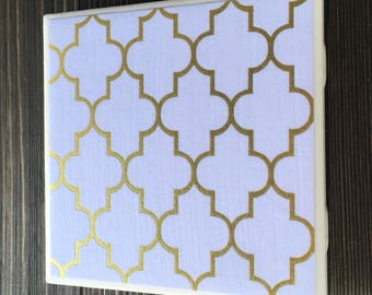 Gold Foil Quatrefoil Coasters, Quatrefoil Coasters, Arabesque Coasters, Gold Foil Coasters, Set of 4 Coasters