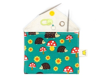 Hedgehog coin purse with a snap, stitch marker or notions pouch, green credit card wallet