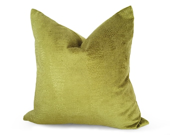Chartreuse Pillow, Velvet Pillows, Green Velvet Pillow, Designer Pillow, Animal Print, Reptile, Embossed, Textured, Solid, Yellow Green, NEW