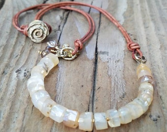 Mystic Champagne Chalcedony Necklace and Hill Tribe 24k Gold Vermeil, Honey Chalcedony, Amber Chalcedony, Lotus Flower, Mystic Chalcedony