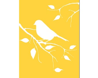 Bird on a Branch - 11x17 Nursery Art Print - CHOOSE YOUR COLORS - Shown in Yellow, Gray, Light PInk and More