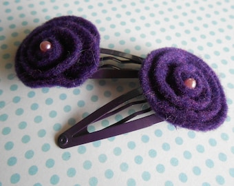 Felt Hair Clips Purple Flowers Set of 2