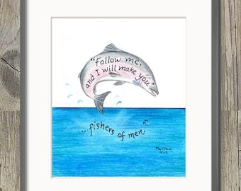 Fishermen, Bible Verse art print, scripture design, hand lettered typography, wall art decor, Matthew 4:19