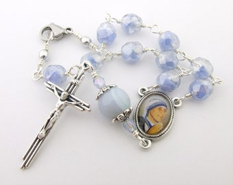 Car Rosary - Saint Mother Theresa of Calcutta Medal Auto Rosary - One Decade Unbreakable Wire Wrapped Catholic Rosary Beads - Catholic Gift