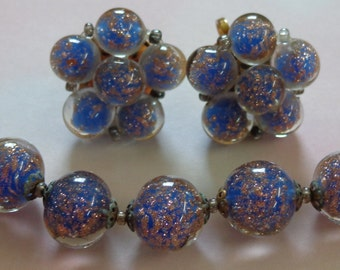 Antique Vintage Necklace and Earrings Cobalt Blue with Copper Confetti Sparkles Gold Tone