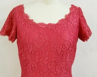"""Vintage 1960's """"Elizabeth Bryne"""" Pink Lace Dress"""