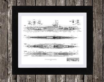 U boat blueprint etsy u boat blueprint art marine art naval art old blueprint instant download malvernweather Gallery