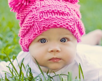 Baby Hat: Little Miss Checker Head 6-12 months in Hot Pink or Pick your own color