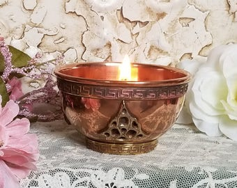 Goddess Brigid Imbolc Candle, Offering Bowl, Altar Candle