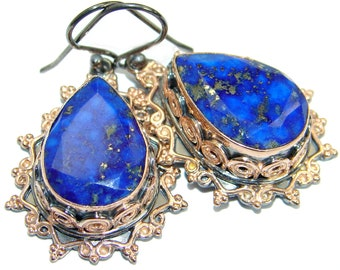 Lapis Lazuli, Garnet Sterling Silver Earrings - weight 13.60g - dim L- 1 5 8, W- 7 8, T- 3 8 inch - code 7-mar-18-33