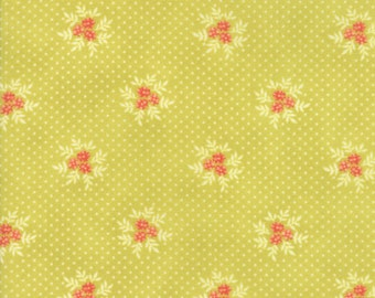 Fig Tree Fabric - Ella and Ollie Fabric Yardage - Moda Quilt Fabric - Apple - Green Floral Dot Fabric By The 1/2 Yard