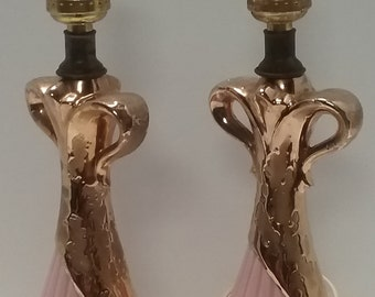 Matching Pair of Mid Century Pink and Gold Bedside Lamps