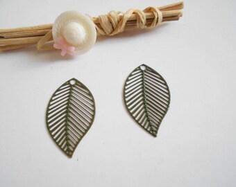 set of 2 prints olive green enameled leaves
