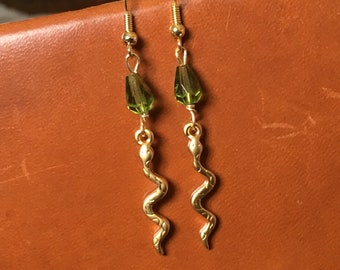 Snake in the Grass - Gold and Green Earrings - Gold Snake Earrings - Handmade Jewelry - Hand Wire Wrapped