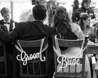 Bride and Groom Chair Signs for Wedding, Hanging Chair Signs Wooden Wedding Signs Bride & Groom (Item - LBG200)