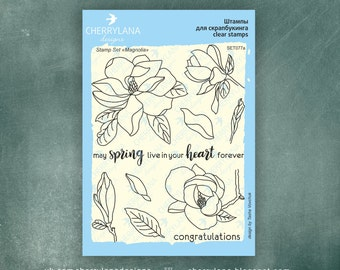"""Magnolia Set of Stamps 4x6"""" Clear Photopolymer, Clear Stamps, Clear Rubber Stamps, Stamp Set, Flower Stamps, Cherrylana"""