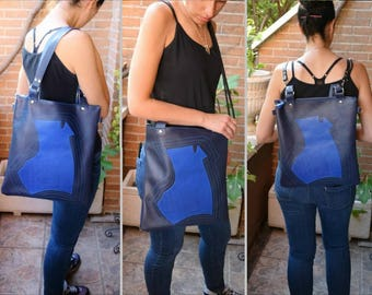 Convertible backpack,convertible purse,convertible tote,leather backpack,leather tote bag,leather purse,blue leather purse,blue tote bag