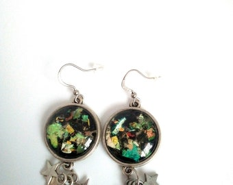 Earrings cabochon 18mm glass with stars
