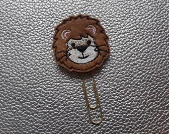 Lovely Lion Head.  Planner Bookmark. Planner Feltie Clip.  Paperclip.  Felt Clip. Planner Gifts.  Stationery.  UK SELLER!