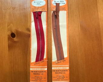 Vintage Talon Slide Fasteners (Zippers) 9 inch in red and tan