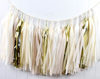 Neutrals & Gold tassel garland // wedding and party decoration