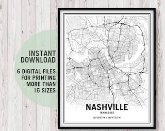 Nashville Art, Nashville Map, Nashville Print, Nashville Poster, Nashville Digital Download, Nashville Decor, Nashville Gifts, City Wall Art