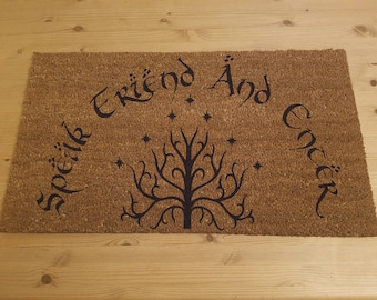 Lord of the Rings Inspired Doormat Speak Friend and Enter Tolkien with Tree of Gandor