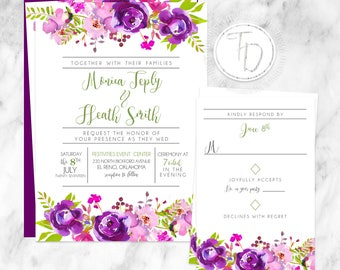 Watercolor Floral Wedding Invitation, Floral Wedding Invitation, Purple Wedding Invitation, Watercolor Wedding Invitation, Rustic Wedding