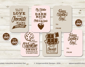 "Chocolate Valentine Stationery - Printable Cards and Seal - Nothin' Says I Love You Like Chocolate - 3.5x5 cards, 1.5"" round seal"