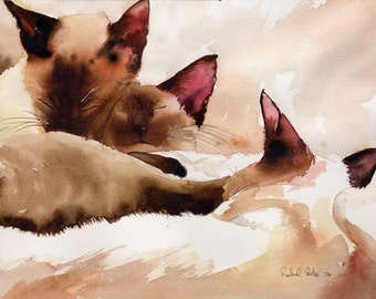 Chocolate Point Siamese Cat Art Print from my Watercolor Painting Big Large Huge
