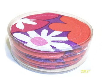 Vintage Set Of Eight Mod Plastic Coasters