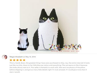Loss of cat gift crochet custom cat pillow pet portrait personalized cat gift for cat lover cat pillow  stuffed tuxedo cat portrait pillow