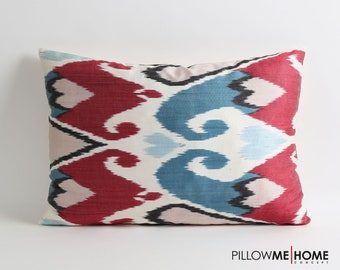 Handwoven silk pillow cover // decorative ikat pillows